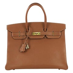 Hermes Birkin Handbag Gold Epsom with Gold Hardware 35