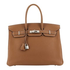 Hermes Birkin Handbag Gold Fjord with Palladium Hardware 35