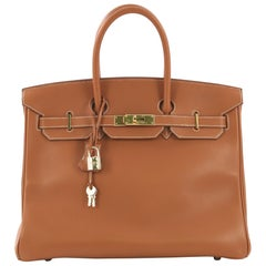 Hermes Birkin Handbag Gold Gulliver with Gold Hardware 35