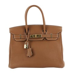 Hermes Birkin Handbag Gold Togo With Gold Hardware 30