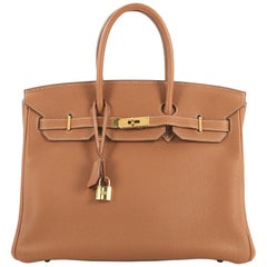 Hermes Birkin Handbag Gold Togo with Gold Hardware 35