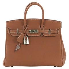 Hermes Birkin Handbag Gold Togo with Palladium Hardware 25