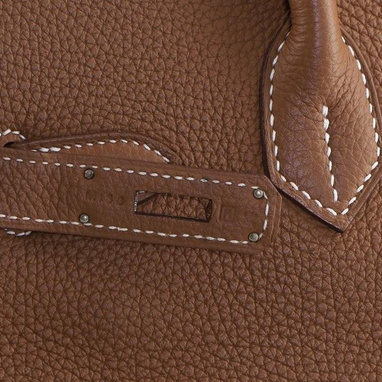 Hermes Birkin Handbag Gold Togo with Palladium Hardware 30 For Sale 8