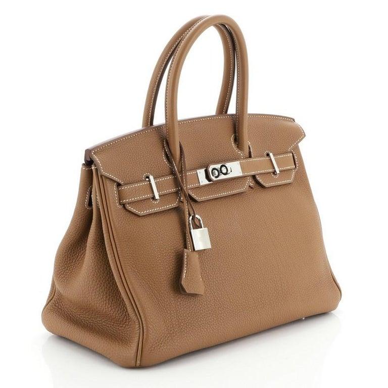 Hermes Birkin Handbag Gold Togo with Palladium Hardware 30 In Good Condition For Sale In New York, NY
