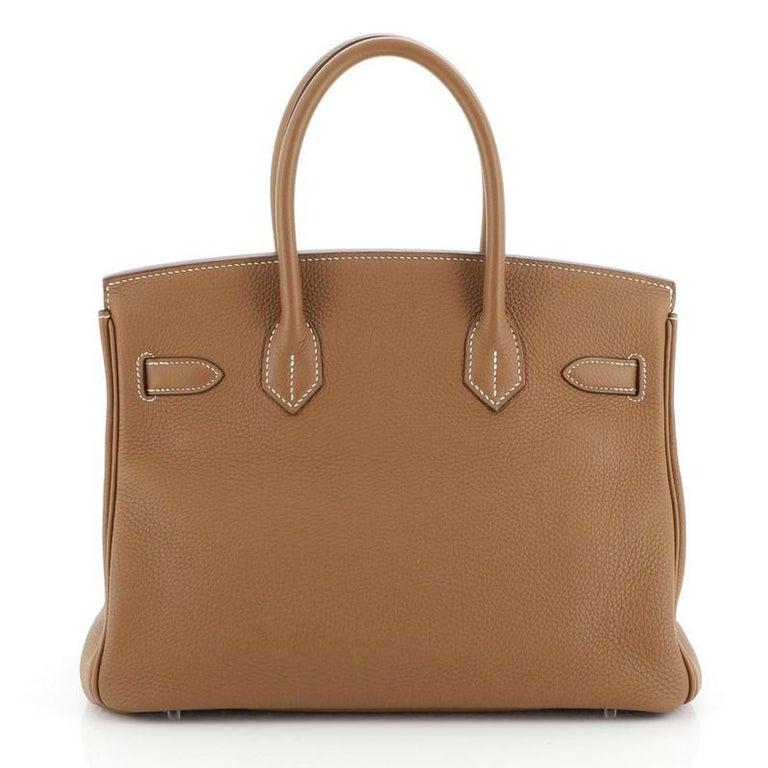 Women's or Men's Hermes Birkin Handbag Gold Togo with Palladium Hardware 30 For Sale