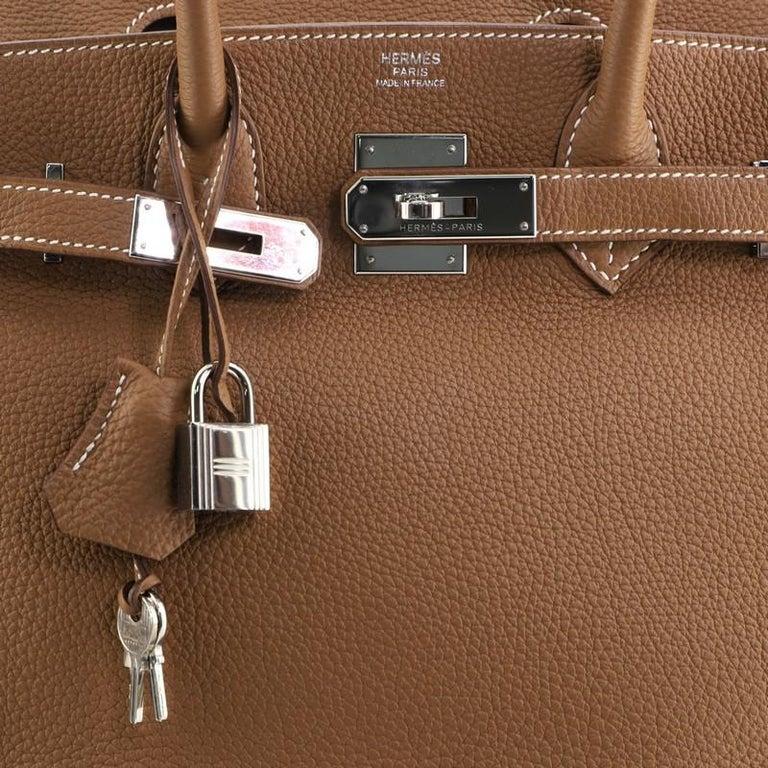 Hermes Birkin Handbag Gold Togo with Palladium Hardware 30 For Sale 3