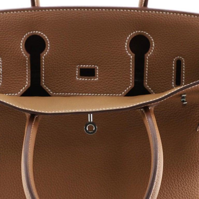 Hermes Birkin Handbag Gold Togo with Palladium Hardware 30 For Sale 5