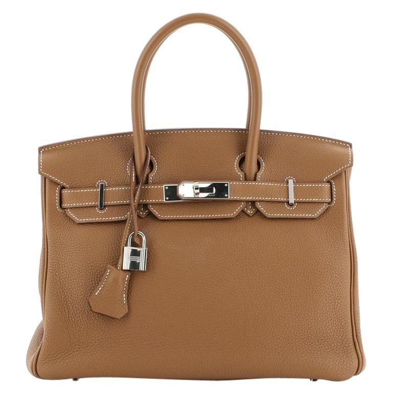 Hermes Birkin Handbag Gold Togo with Palladium Hardware 30 For Sale