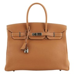 Hermes Birkin Handbag Gold Togo With Palladium Hardware 35