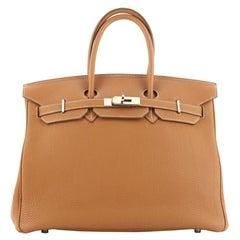 Hermes Birkin Handbag Gold Togo With Palladium Hardware 35