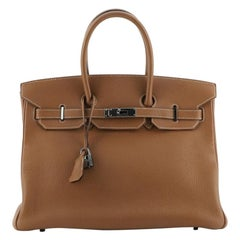 Hermes Birkin Handbag Gold Togo with Ruthenium Hardware 35