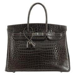 Hermes Birkin Handbag Graphite Shiny Porosus Crocodile With Palladium Hardware 3