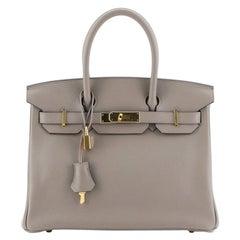 Hermes Birkin Handbag Gris Asphalte Novillo with Gold Hardware 30
