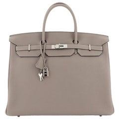 Hermes Birkin Handbag Gris Asphalte Togo with Palladium Hardware 40