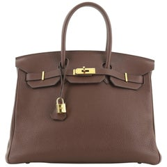 Hermes Birkin Handbag Havane Clemence With Gold Hardware 35