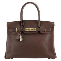 Hermes Birkin Handbag Havane Courchevel with Gold Hardware 30