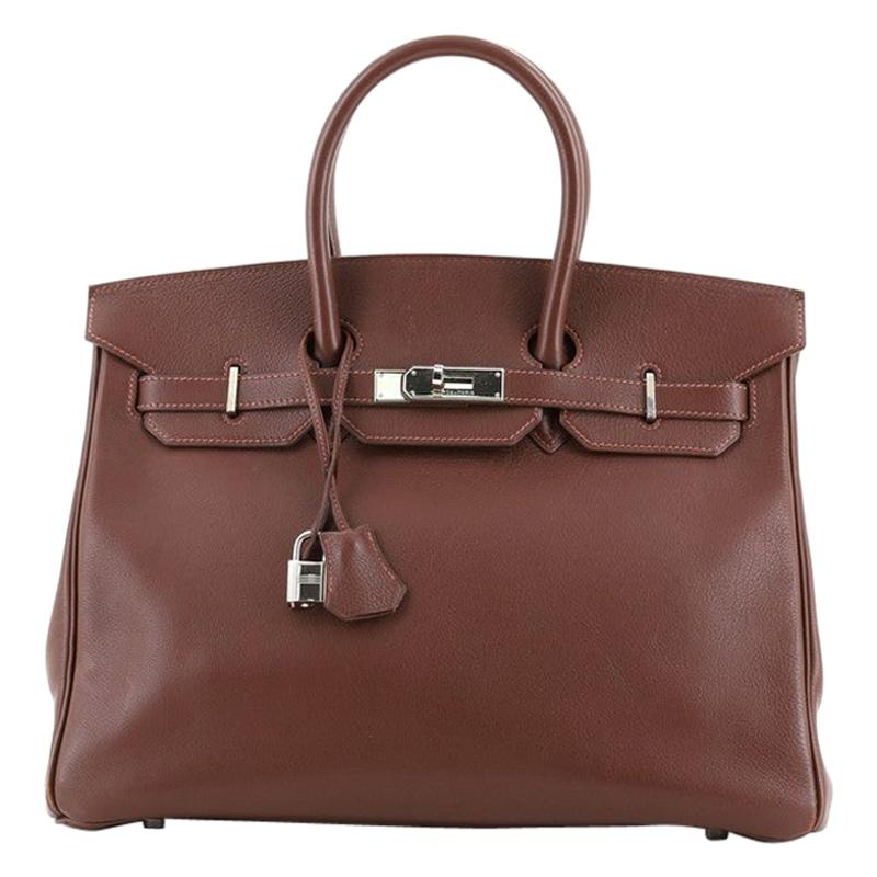 Hermes Birkin Handbag Havane Evergrain with Palladium Hardware 35