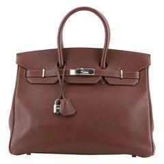 Hermes Birkin Handbag Havane Evergrain with Palladium Hardware 35