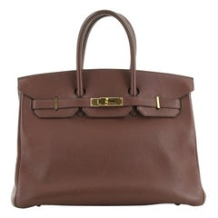 Hermes Birkin Handbag Havane Togo With Gold Hardware 35
