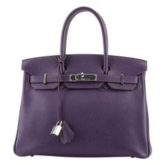 Hermes Birkin Handbag Iris Epsom with Palladium Hardware 30