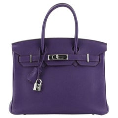 Hermes Birkin Handbag Iris Togo With Palladium Hardware 30