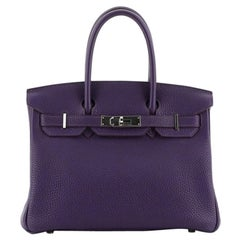 Hermes Birkin Handbag Iris Togo with Palladium Hardware 30