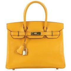 Hermes Birkin Handbag Jaune Courchevel with Gold Hardware 30