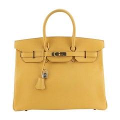 Hermes Birkin Handbag Jaune Courchevel with Gold Hardware 35