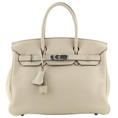 Hermes Birkin Handbag Light Clemence with Palladium Hardware 30