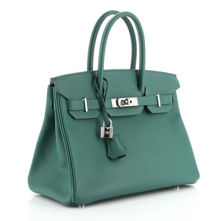 Hermes Birkin Handbag Malachite Epsom with Palladium Hardware 30 In Good Condition For Sale In New York, NY