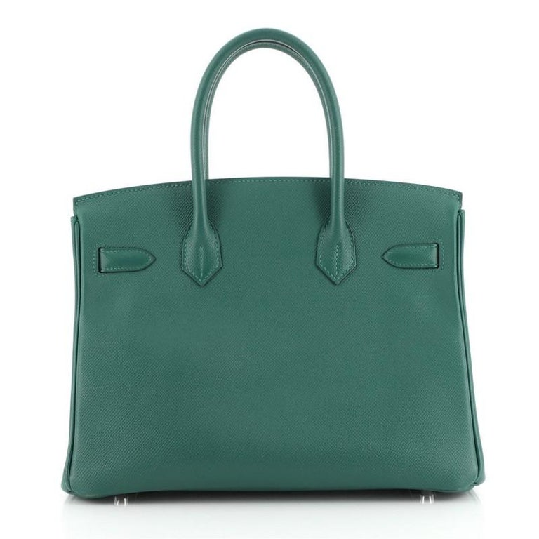 Women's or Men's Hermes Birkin Handbag Malachite Epsom with Palladium Hardware 30 For Sale