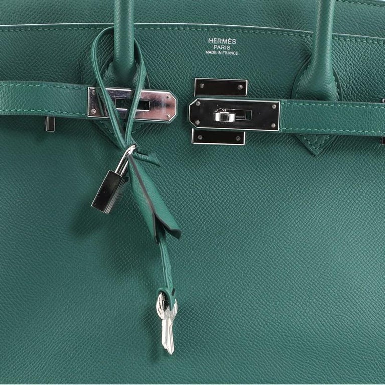 Hermes Birkin Handbag Malachite Epsom with Palladium Hardware 30 For Sale 3