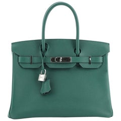 Hermes Birkin Handbag Malachite Epsom with Palladium Hardware 30