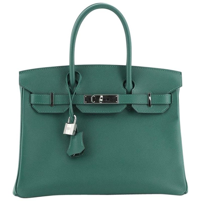 Hermes Birkin Handbag Malachite Epsom with Palladium Hardware 30 For Sale