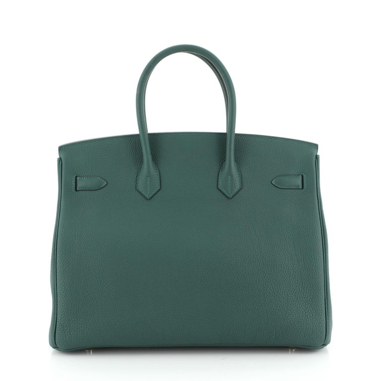Hermes Birkin Handbag Malachite Togo with Gold Hardware 35 In Good Condition For Sale In New York, NY