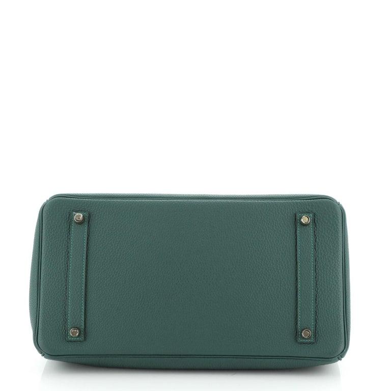 Women's or Men's Hermes Birkin Handbag Malachite Togo with Gold Hardware 35 For Sale