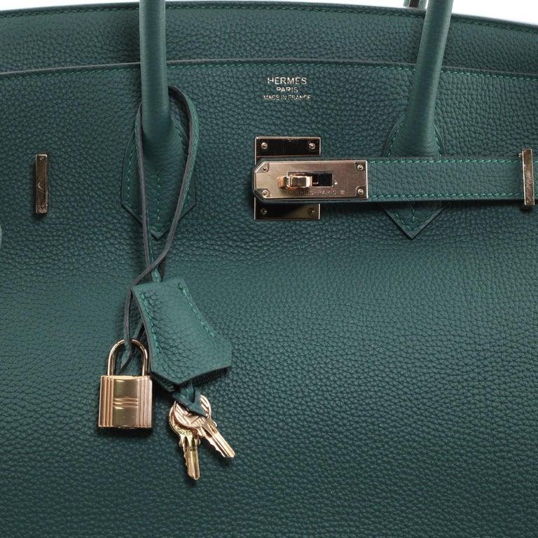 Hermes Birkin Handbag Malachite Togo with Gold Hardware 35 For Sale 2