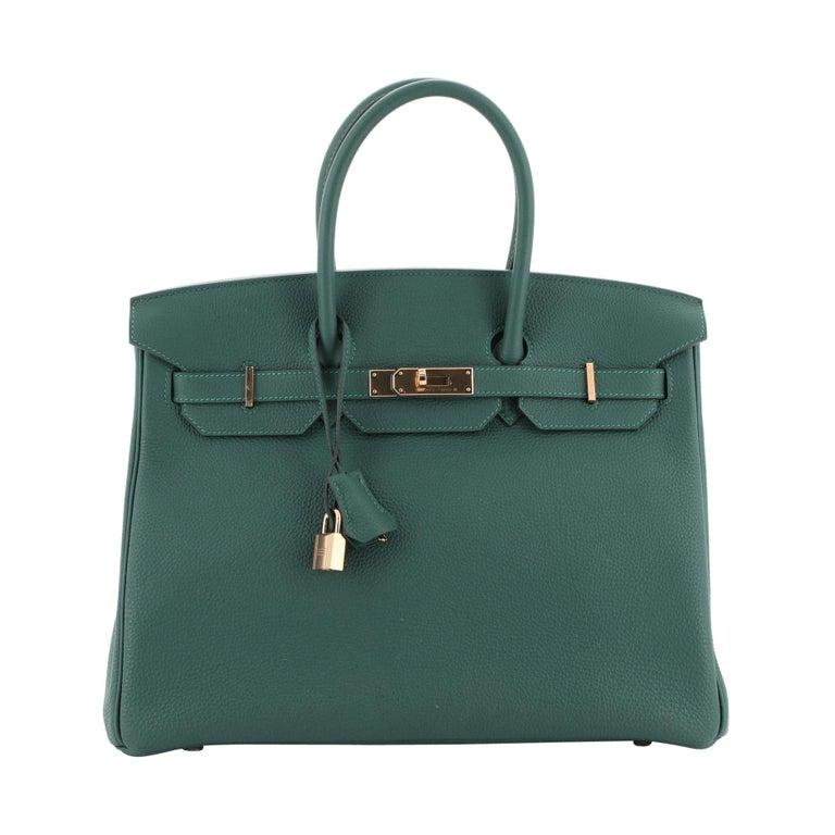 Hermes Birkin Handbag Malachite Togo with Gold Hardware 35 For Sale
