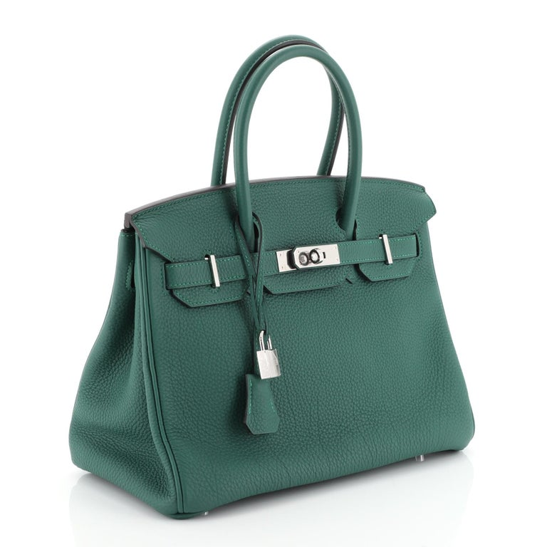 Blue Hermes Birkin Handbag Malachite Togo with Palladium Hardware 30 For Sale