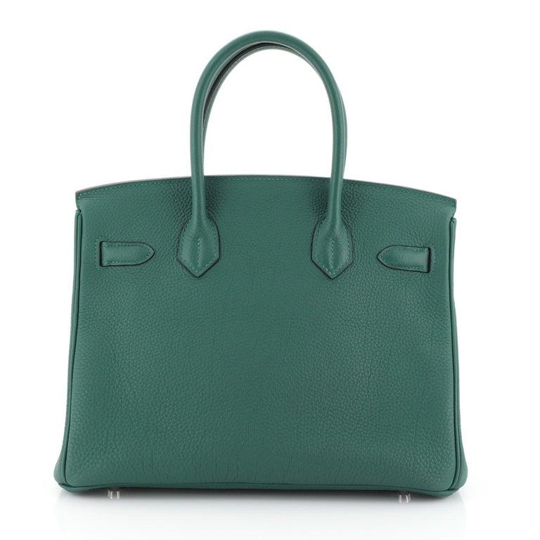 Hermes Birkin Handbag Malachite Togo with Palladium Hardware 30 In Good Condition For Sale In New York, NY