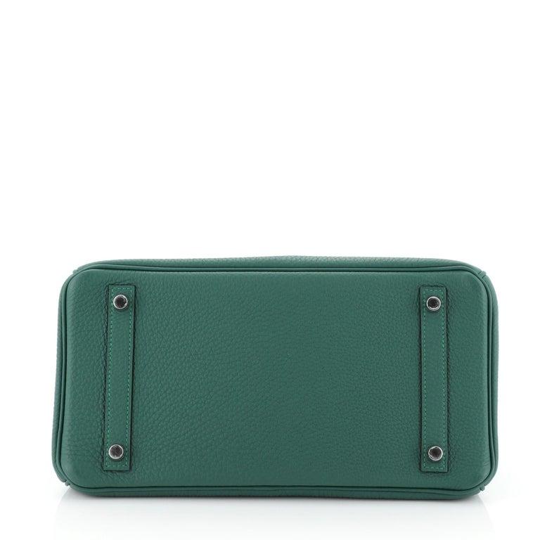 Women's Hermes Birkin Handbag Malachite Togo with Palladium Hardware 30 For Sale