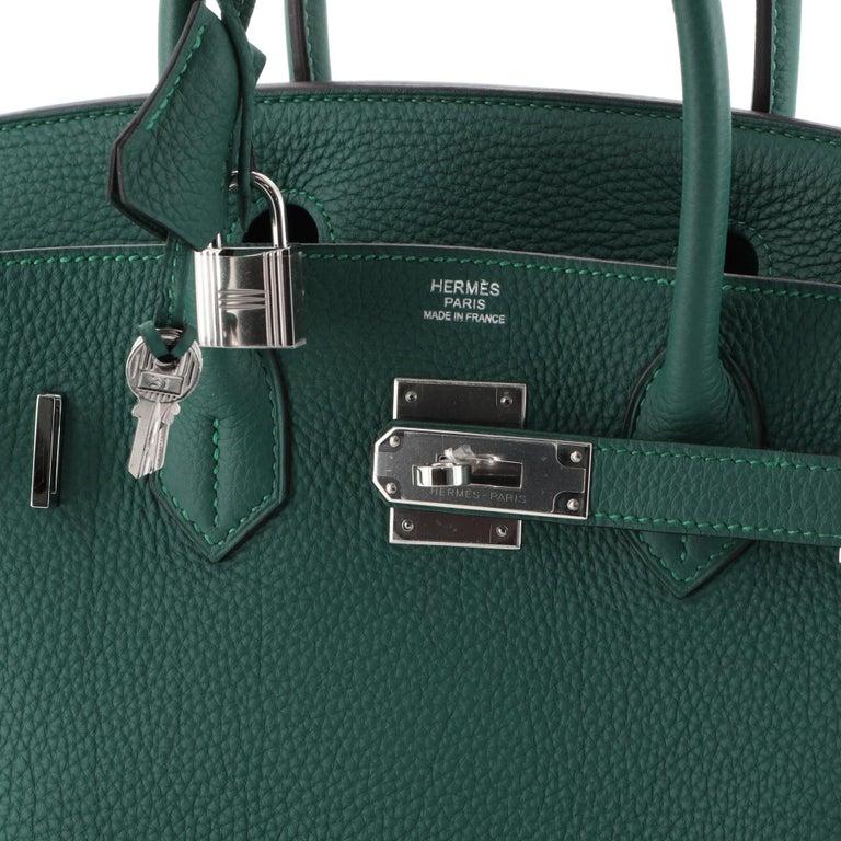Hermes Birkin Handbag Malachite Togo with Palladium Hardware 30 For Sale 1