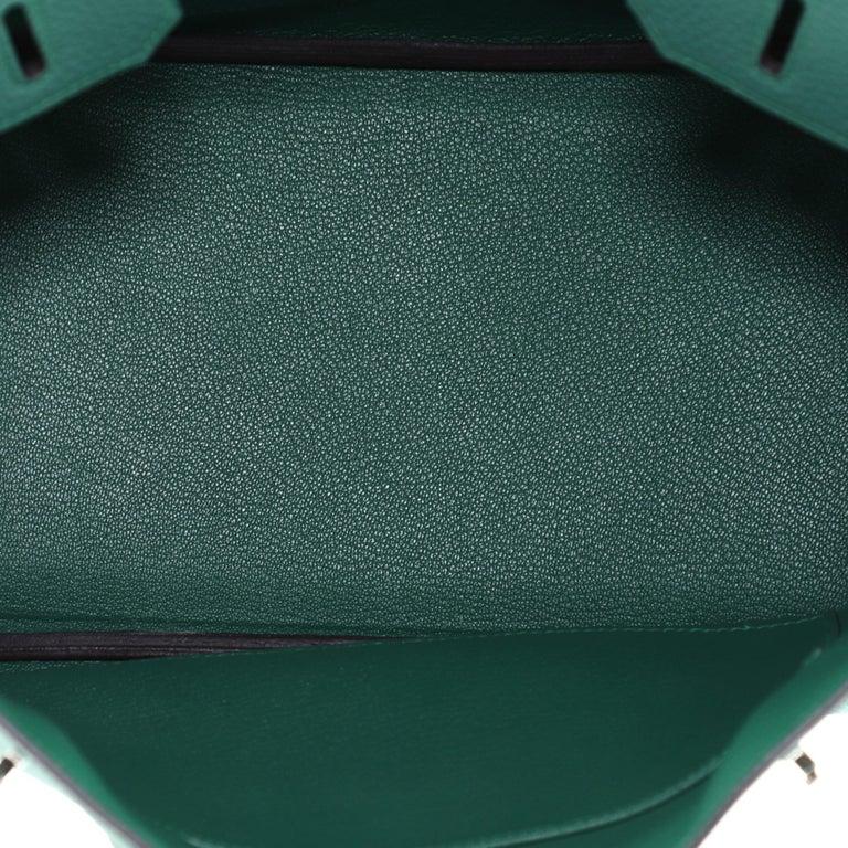 Hermes Birkin Handbag Malachite Togo with Palladium Hardware 30 For Sale 2