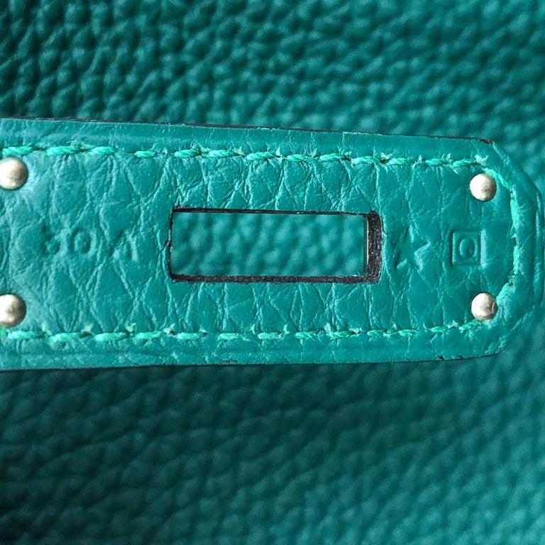 Hermes Birkin Handbag Malachite Togo with Palladium Hardware 30 For Sale 3