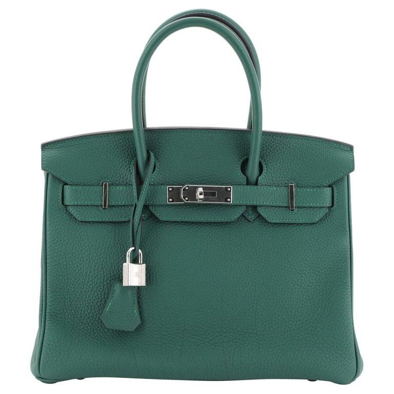 Hermes Birkin Handbag Malachite Togo with Palladium Hardware 30 For Sale