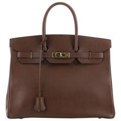 Hermes Birkin Handbag Marron Foncé Ardennes with Gold Hardware 35