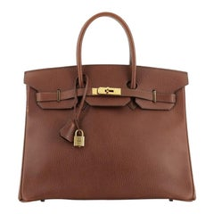 Hermes Birkin Handbag Marron Fonce Ardennes with Gold Hardware 35
