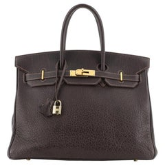 Hermes Birkin Handbag Marron Foncé Buffalo with Gold Hardware 35