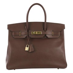 Hermes Birkin Handbag Marron Fonce Courchevel with Gold Hardware 35