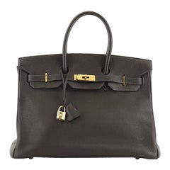 Hermes  Birkin Handbag Marron Fonce Togo with Gold Hardware 30